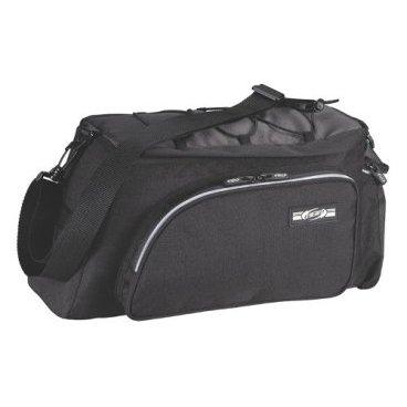 Велосумка BBB CarrierBag, черная, на багажник, BSB-95Велосумки<br>Основное отделение сумки на багажник BBB BSB-95 Carrier Bag имеет стенки, наполненные внутри пеной для предотвращения повреждений перевозимого груза. Кроме этого, по бокам и сзади сумки размещены 3 кармана для быстрого доступа к часто необходимым вещам.<br><br><br><br>Сверху сумка оснащена стяжкой для перевозки различных предметов. <br>Она крепится к багажнику с помощью 4 velcro липучек, надежно удерживающих ее. Также оснащена плечевым ремнем, который можно легко снять.<br>