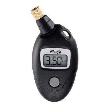 Измеритель давления BBB gauge pressure meter, BMP-90Велоинструменты<br>Цифровой датчик измерения давления в шинах.<br>Максимальное допустимое давление: 11 бар.<br>Энергосберегающая функция автоматического выключения.<br>