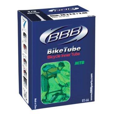 Камера BBB, 29x1.9/2.3, автониппель, BTI-89Камеры для велосипеда<br>Камеры BBB изготовлены из долговечного резинового компаунда.<br><br>Никаких швов, которые могут пропускать воздух. Толщина стенки: 0.87 мм. Достаточно большая для защиты от проколов и достаточно небольшая для снижения веса.<br>