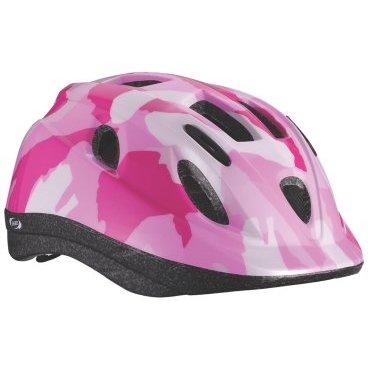 Велошлем BBB Boogy, детский, рисунок камуфляж, розовый, M (52-56 см), BHE-37Велошлемы<br>Интегрированная конструкция.<br><br>12 вентиляционных отверстий.<br><br>Отверстия для вентиляции в задней части шлема для оптимального распределения потоков воздуха.<br><br>Настраиваемые ремешки для максимально комфортной посадки.<br><br>Простая в использовании система настройки TwistClose, можно настроить шлем одной рукой.<br><br>Съемные мягкие накладки с антибактериальными свойствами и возможностью стирки.<br><br>Светоотражающие наклейки на задней части шлема.<br><br> M (52-56 см)<br>