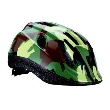 Велошлем BBB Boogy, детский, рисунок камуфляж, зеленый, M (52-56 см), BHE-37Велошлемы<br>Детский щлем с интегрированной конструкции.<br><br>Особенности:<br><br>- 12 вентиляционных отверстий.<br>- Отверстия для вентиляции в задней части шлема для оптимального распределения потоков воздуха.<br>- Защитная сетка от насекомых в вентиляционных отверстиях.<br>- Настраиваемые ремешки для максимально комфортной посадки.<br>- Простая в использовании система настройки TwistClose, можно настроить шлем одной рукой.<br>- Съемные мягкие накладки с антибактериальными свойствами и возможностью стирки.<br>- Светоотражающие наклейки на задней части шлема.<br> M (52-56 см)<br>