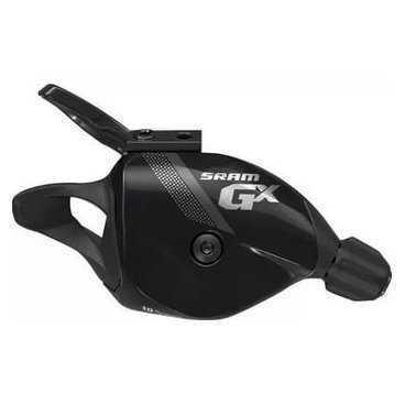 Манетка велосипедная Rear Sram GX Trigger w Discrete Clamp, 10 скоростей, черная, 00.7018.208.002Манетки и Шифтеры<br>Манетка GX 2x10 имеет алюминиевый рычажок, что спосоюствует уменьшению веса и увеличению прочности. Идеально крепятся на зажим MatchMaker™, что позволяет экономить место на руле и отлично смотрится. Манетка GX сочетает в себе точность переключения серии X0 с опциями и технологиями, оптимизированными для систем 2x10.<br><br>SRAM 2x10 EXACT ACTUATION™ для быстрого и точного переключения, идеально подходит для 10-скоростной трансмиссии.<br><br>Технология Exact Actuation помогает улучшить и стабилизировать нелегкую работу заднего переключателя на близко расположенных звездах кассеты. Результат: простая в установке и эксплуатации система переключения скоростей. Коэффициент срабатывания SRAM 1:1 (ход тросика манетки:движение переключателя скоростей) для 10 скоростей. <br>Совместимость с MatchMaker: Избавьтесь от негромождения на руле с MatchMaker. Теперь ручки тормоза AVID®, несколько манеток SRAM и рубашка тросика RockShox Pushloc Remote — уместятся на одном зажиме.<br>
