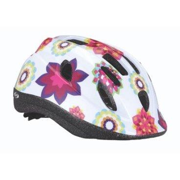 Велошлем BBB Boogy, детский, рисунок цветы, цвет белый, M (52-56 см), BHE-37Велошлемы<br>12 вентиляционных отверстий.<br><br>Задние вентиляционные отверстия для оптимального воздушного потока.<br><br>Сетка - защищает от насекомых.<br><br>Регулируемые ремни для совершенной и удобной посадки.<br><br>Легкая регулировка TwistClose системы, можно регулировать одной рукой.<br><br>Моющиеся антибактериальные колодки.<br><br>Светоотражающие наклейки сзади.<br><br>Размеры: M (52-56 см)<br>