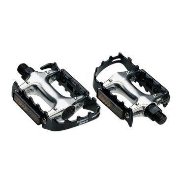 Педали велосипедные BBB Mount&amp;Go, МТБ, ось Cr-Mo, алюминий, черные, BPD-15Педали для велосипедов<br>Прочные педали из кованного алюминия.<br>Прочная ось CrMO.<br>Рамка с зубцами для лучшего контакта.<br>Хорошее сцепление с обувью даже в мокрую погоду.<br>Отражатели для безопасности в темное время суток.<br>Совместимы с ремнями BPD-30 Bike &amp; Tight.<br>