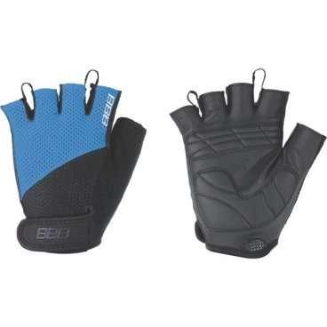 Перчатки велосипедные BBB Cooldown/Chase, унисекс, размер M, гелевые вставки, черный/синий, BBW-49Велоперчатки<br>Легкие летние перчатки  для спортивного катания на горных велосипедах<br><br>-тыльная сторона изготовлена из сетчатого материала <br>-на ладони - искусственная кожа Serino с мягкими гелевыми вставками, гасящими вибрации от руля<br>-на запястьях перчатки фиксируются застежками велькро (система WristLock)<br>-между пальцами предусмотрены специальные петли, чтобы быстро снять перчатки <br>-в области большого пальца есть специальная вставка для стирания пота и влаги<br>