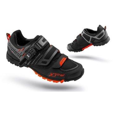 Велотуфли Suplest Offroad X.1 Trail Performance, размер 42, черно-оранжевый, 03.022.42Велообувь<br>Размеры: 42<br>Вес: 385 г (Размер 42)<br>Материал верха: Синтетическая Кожа / Сетка<br>Подошва: SUPtraction X. 1-Trail <br>Система Совместимости: SPD, Look, Time и Crank Brothers<br>