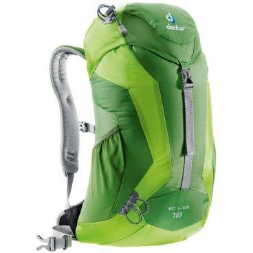Велорюкзак Deuter AC Lite 18, 53x30x19, 18 л, чехол от дождя, зеленый, 34611_2208Велорюкзаки<br>Deuter AC Lite 18 - эти спортивные, яркие райские птицы, рюкзаки для однодневных походов.<br><br>Выпускаются в модной, современной, цветовой гамме, красивой, стильной формы и компактных размеров функциональные и комфортные рюкзаки.<br><br>Мягкие обводы и аккуратная, стильная форма остались неизменными.<br><br>Особенности рюкзака Deuter AC Lite 18<br><br>- система вентиляции Aircomfort Advanced<br><br>- анатомические эластичные плечевые лямки, отделаны сетчатой тканью 3D AirMesh<br><br>- большой карман в верхнем клапане<br><br>- вместительный карман, для мелких вещей закрывающийся на молнию<br><br>- оригинальная застёжка с одной пряжкой<br><br>- стильный отражатель 3M<br><br>- прочные и надёжные петли для телескопических палок<br><br>- удобные боковые сетчатые карманы<br><br>- максимальная совместимость с системой снабжение питьевой водой<br><br>- встроенный съёмный чехол от дождя<br><br>- материал Microrip-Nylon Ripstop 210<br><br>- вес 900 грамм<br><br>- объём 18 литров<br><br>- размер 53x30x19 см.<br>