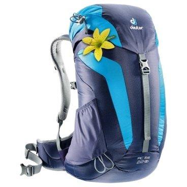 Велорюкзак Deuter AC Lite 22 SL, для женщин, 52x32x20, 22 л, фиолетовый, 3420216_3349Велорюкзаки<br>Легкий рюкзак для непродолжительных походов и прогулок<br><br>-обтекаемая фома<br>-анатомические лямки<br>-крепление для палок<br>-верхний клапан с карманом<br>-влагозащитный чехол в комплекте<br>-выход для питьевой системы<br>-объем 22 л<br>-вес 900 гр<br>-размер 52*32*20 см<br>