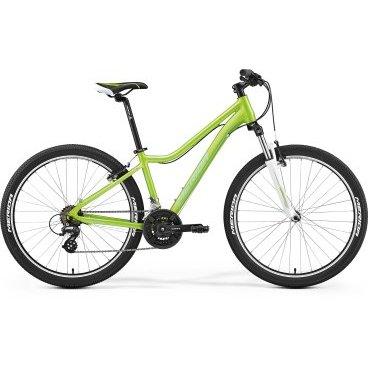 Горный велосипед Merida Juliet 6.10-V 2017Горные (MTB)<br>Женский горный велосипед с оборудованием любительского класса Shimano, 21 скорость. Технические особенности: алюминиевая рама Juliet Speed 6, амортизационная вилка SR Suntour 26 XCT, двойные обода Merida Juliet V, надежные ободные тормоза V-Brake Linear. Подходит для активной езды по различным дорогам и пересеченной местности. Диаметр колес - 26 дюймов. Вес - 14,2 кг. <br><br>Основное <br>Класс брендасредний <br>Материал рамыалюминий <br>Диаметр колес26 <br>Амортизаторытолько передний <br>Скорости21 <br>Тип тормозовободные <br>Рама и управление <br>ВилкаSR Suntour 26 XCT 100 <br>ВыносMerida Ahead alloy 15 <br>ПедалиPP pedal <br>РамаJuliet Speed 6 V <br>РульMerida Steel 620 R30 <br>СедлоJuliet Sport <br>Подседельный штырьMerida speed 27.2 <br>Трансмиссия <br>КареткаCartridge Bearing <br>КассетаShimano MF-TZ21 14-28Т <br>МанеткиShimano EF41 fire 7 <br>Передний переключательShimano TY <br>Задний переключательShimano Altus <br>СистемаShimano TY301 42-34x24T CG <br>Цепьchain 7s <br>Тормоза <br>Тормозные диски160/160 мм <br>ТормозаV-Brake Linear <br>Колеса <br>ВтулкиАлюминиевые <br>ОбодаMerida Juliet V <br>ПокрышкиFront: Merida 26 1.95, Rear: Merida 26 1.95 <br>СпицыСтальные<br>