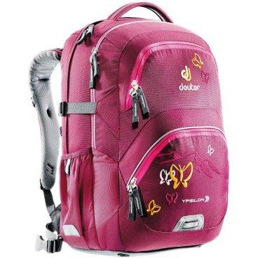 Велосипедный рюкзак Deuter Ypsilon, детский, 46x32x22, 28 л, розовый, 80223_5009Велорюкзаки<br>Прочный школьный рюкзак с идеальной подгонкой, который позволяет активно двигаться. Конструкция спинки Active Comfort для физически активных детей.<br>-рюкзак, поставленный на пол, стоит вертикально<br><br>-эргономичная система спинки, S-образные регулируемые лямки<br><br>-съемный набедренный пояс<br><br>-светоотражающие элементы по кругу<br><br>-основное отделение под размер папки<br><br>-дополнительное отделение с карманом для школьного расписания и линейки<br><br>-вместительный фронтальный карман-органайзер для ключей, смартфона, кошелька...<br><br>-карман для контейнера с завтраком<br><br>-компрессионные ремни<br><br>-мягкая ручка<br><br>-2 эластичных боковых кармана с усиленными краями.<br><br>Вес: 1340 г<br><br>Объем: 28 л<br><br>Размеры: 46 х 32 х 22 см<br><br>Материал: Deuter-Super-Polytex<br>