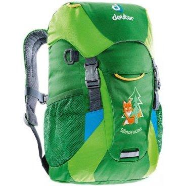 Велосипедный рюкзак Deuter Waldfuchs, детский, 35x25x15, 10 л, зеленый, 3610015_2208Велорюкзаки<br>Яркие цвета гарантируют увлекательные приключения в лесу или в детском саду. Как и во всех других детских рюкзаках Deuter, пользоваться любой из функций ребенку просто, как раз-два-три! Передний карман можно открыть даже не снимая рукавичек!<br><br><br>Удобная мягкая спинка и плечевые лямки с мягкими краями<br><br>Съемный коврик для сидения во время перекуса одновременно усиливает спинку рюкзака<br><br>Внутреннее отделение с застежкой Velcro для пилы или других полезных вещей<br><br>передний карман с застежкой Velcro можно открывать, не снимая рукавичек<br><br>В каждый из боковых сетчатых карманов помещается фляга емкостью 0,5 литра<br><br>Карман на молнии для ключей и именная бирка внутри<br><br>Усиленное дно рассчитано на суровое обращение<br><br>Две застежки для надежного крепления куртки под верхним клапаном<br><br>Две D- кольца на фронтальной части для подвески «трофеев»<br><br>Вес: 370г<br><br>Объем: 10 л<br><br>Размеры: 35 х 25 х 15 см<br><br>Материал: 95% полиэстер, 5% нейлон.  Deuter-Super-Polytex<br>