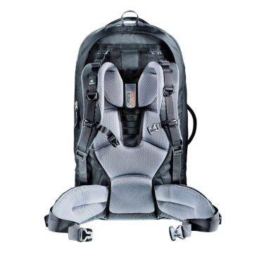 Велосипедный рюкзак Deuter Traveller 70+10, совместимый с питьевой системой, 74x38x32, 70 л, черный,Велорюкзаки<br>Ваш незаменимый спутник в путешествиях! Рюкзак, который можно упаковать как чемодан.<br><br>убираемая система подвески Vari-Quick, X-образный каркас и анатомический набедренный пояс для удобной переноски тяжелых грузов<br><br>U-образная молния позволяет полностью открыть основное отделение подобно чемодану. Можно застегнуть на молнию разделительную перегородку, и тогда нижнее отделение можно использовать отдельно<br><br>съёмный рюкзак с вентилируемой спинкой, внутренним карманом для мелких вещей, совместимый с питьевой системой (2л)<br><br>внутренние клапаны для упаковки вещей<br><br>несколько сетчатых карманов на молнии , компрессионные ремни<br><br>три ручки для переноски<br><br>съемный плечевой ремень.<br><br>Вес: 3250 г<br><br>Объем: 70 + 10 л<br><br>Размер: 74 х 38 х 32 см<br><br>Материал: 55% полиэстер, 45% нейлон.<br>Deuter-MacroLite 420.<br>Специальная полиамидная ткань очень плотного плетения из нитей 420 den имеет высокую стойкость к истиранию. Эта прочная высококачественная ткань применяется для моделей серий Guide и Traveller. ПУ покрытие.<br>Deuter-Duratex Полиамидная ткань, обладающая исключительной стойкостью к истиранию и прочностью на разрыв. Применяется для изготовления дна всех рюкзаков большого объема. Изготовлена из нити 1000 den и имеет мощное ПУ покрытие с внутренней стороны.<br>