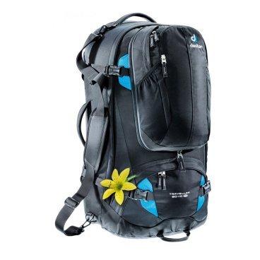 Велосипедный рюкзак Deuter Traveller 60+10 SL, женский, 70x36x28, 60 л, черный, 3510015_7321Велорюкзаки<br>Ваш незаменимый спутник в путешествиях! Рюкзак, который можно упаковать как чемодан.<br><br>убираемая система подвески Vari-Quick, X-образный каркас и анатомический набедренный пояс для удобной переноски тяжелых грузов<br><br>U-образная молния позволяет полностью открыть основное отделение подобно чемодану. Можно застегнуть на молнию разделительную перегородку, и тогда нижнее отделение можно использовать отдельно<br><br>съёмный рюкзак с вентилируемой спинкой, внутренним карманом для мелких вещей, совместимый с питьевой системой (2л)<br><br>внутренние клапаны для упаковки вещей<br><br>несколько сетчатых карманов на молнии, компрессионные ремни<br><br>три ручки для переноски<br><br>съемный плечевой ремень.<br><br>Вес: 3050 г<br><br>Объем: 60 + 10 л<br><br>Размер: 70 х 36 х 28 см<br><br>Материал: 55% полиэстер, 45% нейлон.<br>Deuter-MacroLite 420.<br>Специальная полиамидная ткань очень плотного плетения из нитей 420 den имеет высокую стойкость к истиранию. Эта прочная высококачественная ткань применяется для моделей серий Guide и Traveller. ПУ покрытие.<br>Deuter-Duratex Полиамидная ткань, обладающая исключительной стойкостью к истиранию и прочностью на разрыв. Применяется для изготовления дна всех рюкзаков большого объема. Изготовлена из нити 1000 den и имеет мощное ПУ покрытие с внутренней стороны.<br>