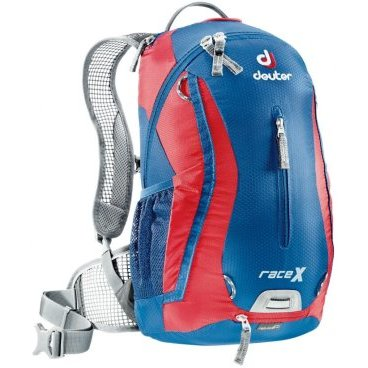 Велосипедный рюкзак Deuter Race X, с чехлом, 44х24х18, 12 л, синий, 32123_3515Велорюкзаки<br>Спортивный и обтекаемый рюкзак для велогонщиков. Простой дизайн и малый вес - идеальный выбор для сторонников минимального веса.<br><br>вентилируемая спинка Deuter Airstripes<br><br>анатомические плечевые лямки из сетки и нагрудный ремень с удобной регулировкой<br><br>набедренный пояс с сетчатыми крыльями<br><br>небольшой верхний карман на молнии<br><br>передний карман  <br><br>отражатели 3M спереди, сзади и по бокам<br><br>внутренний карман для мелких вещей<br><br>петля для крепления ночного габаритного фонарика<br><br>чехол от дождя<br><br>сетчатые боковые карманы<br><br><br>Вес: 600 г.<br>Объем: 12 л.<br>Размер: 44 х 24 х 18 см<br>Материал: 50% полиэстер, 50% нейлон.<br>Hexlite 100. Тонкая сверхлегкая полиамидная текстурированная ткань с усилением Ripstop. Вариант 100 этой ткани используется для изготовления особо легких рюкзаков, таких как Spectro. Силовые волокна, вплетенные в ткань, увеличивают прочность на разрыв и износостойкость этой тонкой ткани с покрытием PU.<br>Deuter-Ripstop 210.Нейлоновая ткань с очень высокой плотностью плетения, износостойкая, 210 Den. Техническая на вид, с блестящей поверхностью, с прочными нитями Ripstop. Эта легкая и очень прочная ткань идеально подходит для облегченных рюкзаков. Высококачественное ПУ покрытие. Используется в облегчённых моделях Alpine и Trekking.<br>
