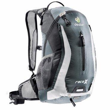 Велосипедный рюкзак Deuter Race X, с чехлом, 44х24х18, 12 л, серый/белый, 32123_4111Велорюкзаки<br>Спортивный и обтекаемый рюкзак для велогонщиков. Простой дизайн и малый вес - идеальный выбор для сторонников минимального веса.<br><br>вентилируемая спинка Deuter Airstripes<br><br>анатомические плечевые лямки из сетки и нагрудный ремень с удобной регулировкой<br><br>набедренный пояс с сетчатыми крыльями<br><br>небольшой верхний карман на молнии<br><br>передний карман  <br><br>отражатели 3M спереди, сзади и по бокам<br><br>внутренний карман для мелких вещей<br><br>петля для крепления ночного габаритного фонарика<br><br>чехол от дождя<br><br>сетчатые боковые карманы<br><br><br>Вес: 600 г.<br>Объем: 12 л.<br>Размер: 44 х 24 х 18 см<br>Материал: 50% полиэстер, 50% нейлон.<br>Hexlite 100. Тонкая сверхлегкая полиамидная текстурированная ткань с усилением Ripstop. Вариант 100 этой ткани используется для изготовления особо легких рюкзаков, таких как Spectro. Силовые волокна, вплетенные в ткань, увеличивают прочность на разрыв и износостойкость этой тонкой ткани с покрытием PU.<br>Deuter-Ripstop 210.Нейлоновая ткань с очень высокой плотностью плетения, износостойкая, 210 Den. Техническая на вид, с блестящей поверхностью, с прочными нитями Ripstop. Эта легкая и очень прочная ткань идеально подходит для облегченных рюкзаков. Высококачественное ПУ покрытие. Используется в облегчённых моделях Alpine и Trekking.<br>