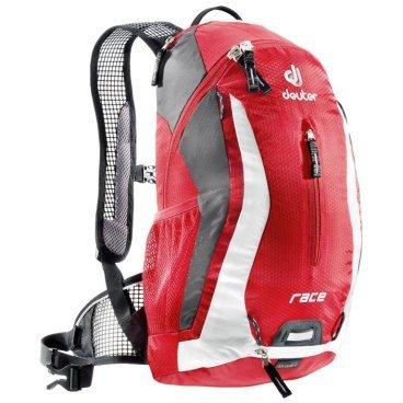 Велосипедный рюкзак Deuter Race, с чехлом, 43х23х13, 10 л, красный, 32113_5350Велорюкзаки<br>Спортивный и обтекаемый рюкзак для велогонщиков. Простой дизайн и малый вес - идеальный выбор для сторонников минимального веса.<br><br>вентилируемая спинка Deuter Airstripes<br><br>анатомические плечевые лямки из сетки и нагрудный ремень с удобной регулировкой<br><br>набедренный пояс с сетчатыми крыльями<br><br>небольшой верхний карман на молнии<br><br>передний карман  <br><br>отражатели 3M спереди, сзади и по бокам<br><br>внутренний карман для мелких вещей<br><br>петля для крепления ночного габаритного фонарика<br><br>чехол от дождя<br><br>сетчатые боковые карманы<br><br><br>Вес: 560 г.<br>Объем: 10 л.<br>Размер: 42 х 21 х 16 см<br>Материал: 50% полиэстер, 50% нейлон.<br>Hexlite 100. Тонкая сверхлегкая полиамидная текстурированная ткань с усилением Ripstop. Вариант 100 этой ткани используется для изготовления особо легких рюкзаков, таких как Spectro. Силовые волокна, вплетенные в ткань, увеличивают прочность на разрыв и износостойкость этой тонкой ткани с покрытием PU.<br>Deuter-Ripstop 210.Нейлоновая ткань с очень высокой плотностью плетения, износостойкая, 210 Den. Техническая на вид, с блестящей поверхностью, с прочными нитями Ripstop. Эта легкая и очень прочная ткань идеально подходит для облегченных рюкзаков. Высококачественное ПУ покрытие. Используется в облегчённых моделях Alpine и Trekking.<br>