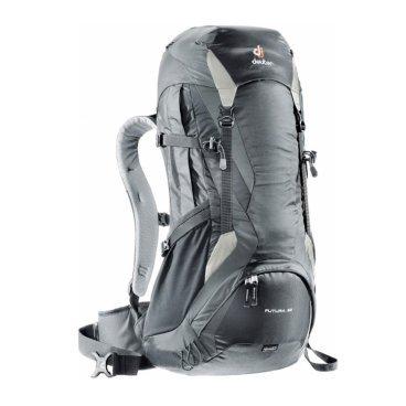 Велосипедный рюкзак Deuter Futura 32, отделение для мокрой одежды, 65х34х24, 32+4 л, черный, 34254_7Велорюкзаки<br>Рюкзаки Futura с загрузкой сверху отлично подойдут для однодневных прогулок в горах и походов, восхождений via ferrata. Эффективная система вентиляции спины Aircomfort плюс полный набор функций.<br><br>Особенности:<br>- набедренный пояс анатомической формы с мягкой подкладкой из двухслойного поропласта;<br>- застёжка Pull-Forward (с затяжкой вперёд) облегчает регулировку пояса;<br>- карман для мелких вещей в набедренном поясе;<br>- плечевые лямки анатомической формы из сетки MeshTex со стабилизирующими ремнями;<br>- боковые карманы со складками; карман в верхнем клапане;<br>- передний карман на молнии; два боковых сетчатых кармана;<br>- отделение для мокрой одежды;<br>- петли для телескопических палок и ледовых инструментов;<br>- петли на верхнем клапане для крепления дополнительного снаряжения.<br><br>Рюкзак для пеших прогулок<br>Вес (кг.): 1.6<br>Объем (л): 32+4<br>Размеры (см.): 65x34x24<br>