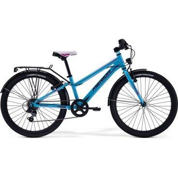 Детский велосипед Merida Bella J24 2017Детские<br>Велосипед, предназначенный для девочек в возрасте от восьми до тринадцати лет, с оборудованием начального класса Shimano, 6 скоростей. Технические особенности: алюминиевая рама M24 Alloy, жесткая стальная вилка, двойные алюминиевые обода, надежные ободные тормоза V-Brake Linear, длинные стальные крылья, багажник, подножка. Подходит для прогулочного катания в городских условиях и по несложным маршрутам в лесу. Диаметр колес - 24 дюйма.<br><br>Рама и амортизаторы<br><br>РамаM24 ALLOY<br>ВилкаRigid Steel<br>Цепная передача<br><br>МанеткиShimano Revoshift SL-RS35 6sp<br>Задний переключательShimano TY21<br>Шатуны38T 140L<br>Кареткаattached<br>КассетаShimano TZ-20 14-28T 6sp<br>ЦепьZ33<br>ПедалиJunior PVC<br>Колеса<br><br>Диаметр24.0<br>ОбодаAlloy Black<br>СпицыSteel UCP<br>ВтулкаSteel NT<br>ПокрышкаMerida 24 2.0<br>Компоненты<br><br>Передний тормозV-Brake Linear<br>Задний тормозV-Brake Linear<br>РульMerida Rise 540<br>ВыносMerida A-Head<br>Рулевая колонкаSteel-Headset<br>СедлоBELLA 24<br>Подседельный штырьSteel 27.2<br>РазработкаТайвань<br>ПроизводствоКНР (Тайвань)<br>