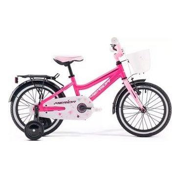 Детский велосипед Merida Chica J16 2017Детские<br>Велосипед, предназначенный для девочек в возрасте от трех до шести лет, без переключения передач. Технические особенности: алюминиевая рама M16 Alloy-C, жесткая стальная вилка, одинарные алюминиевые обода, передний тормоз - ручной V-Brake, задний - ножной, полная защита цепи, стальные крылья, багажник, съемные боковые колеса, звонок, передняя корзинка. Подходит для обучения и легких прогулок. Диаметр колес - 16 дюймов.<br><br>Рама и амортизаторы<br><br>РамаM16 ALLOY-C<br>ВилкаRigid Steel<br>Цепная передача<br><br>ШатуныSteel 32T<br>Кареткаattached<br>Кассета16T<br>ЦепьC-410<br>ПедалиKid PP<br>Колеса<br><br>Диаметр16.0<br>ОбодаAlloy Black<br>СпицыSteel BK<br>ВтулкаSteel NT<br>ПокрышкаMerida Kid 16 1.75<br>Компоненты<br><br>Передний тормозV-Brake<br>Задний тормозНожной (Coaster in R.Hub.)<br>РульOne piece<br>ВыносOne piece<br>Рулевая колонкаGeneral<br>СедлоCHICA kid 16<br>Подседельный штырьattached<br>РазработкаТайвань<br>ПроизводствоКНР (Тайвань)<br>