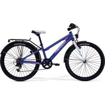 Детский велосипед Merida Chica J24 2017Детские<br>Велосипед, предназначенный для девочек в возрасте от восьми до тринадцати лет, с оборудованием начального класса Shimano, 6 скоростей. Технические особенности: алюминиевая рама M24 Alloy, жесткая стальная вилка, двойные алюминиевые обода, надежные ободные тормоза V-Brake Linear, длинные стальные крылья, багажник, подножка. Подходит для прогулочного катания в городских условиях и по несложным маршрутам в лесу. Диаметр колес - 24 дюйма.<br>Рама и амортизаторы<br><br>РамаM24 ALLOY<br>ВилкаRigid Steel<br>Цепная передача<br><br>МанеткиShimano Revoshift SL-RS35 6sp<br>Задний переключательShimano TY21<br>Шатуны38T 140L<br>Кареткаattached<br>КассетаShimano TZ-20 14-28T 6sp<br>Цепь Z33<br>Педали Junior PVC<br>Колеса<br><br>Диаметр24.0<br>ОбодаAlloy Black<br>СпицыSteel UCP<br>ВтулкаSteel NT<br>ПокрышкаMerida 24 2.0<br>Компоненты<br><br>Передний тормозV-Brake Linear<br>Задний тормозV-Brake Linear<br>РульMerida A-Head<br>ВыносMerida Rise 540<br>Рулевая колонкаSteel-Headset<br>СедлоCHICA 24<br>Подседельный штырьSteel 27.2<br>РазработкаТайвань<br>ПроизводствоКНР (Тайвань)<br>