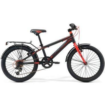 Детский велосипед Merida Dino J20 2017Детские<br>Велосипед, предназначенный для детей в возрасте от пяти до девяти лет, с оборудованием начального класса Shimano, 6 скоростей. Технические особенности: алюминиевая рама M20 Alloy, жесткая стальная вилка, одинарные алюминиевые обода, надежные ободные тормоза V-Brake Linear, длинные стальные крылья, багажник, звонок. Подходит для обучения и прогулочного катания в городских условиях. Диаметр колес - 20 дюймов. Вес - 12 кг.<br><br>Рама и амортизаторы<br><br>РамаM20 ALLOY<br>ВилкаRigid Steel<br>Цепная передача<br><br>МанеткиShimano Revoshift SL-RS35 6<br>Задний переключательShimano TY21<br>Шатуны38T 140L<br>Кареткаattached<br>Кассета14-28T 6sp<br>ЦепьZ33<br>ПедалиJunior PVC<br>Колеса<br><br>Диаметр20.0<br>ОбодаAlloy Black<br>СпицыSteel BK<br>ВтулкаSteel NT<br>ПокрышкаMerida 20 2.0<br>Компоненты<br><br>Передний тормозV-Brake Linear<br>Задний тормозV-Brake Linear<br>РульMerida Rise 540<br>ВыносMerida A-Head<br>Рулевая колонкаSteel-Headset<br>СедлоDINO 20<br>Подседельный штырьSteel 27.2<br>РазработкаТайвань<br>ПроизводствоКНР (Тайвань)<br>