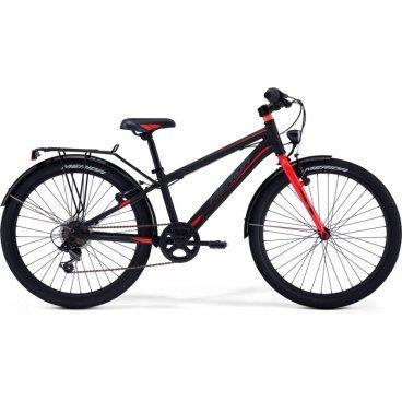 Детский велосипед Merida Dino J24 2017Детские<br>Велосипед, предназначенный для детей в возрасте от восьми до тринадцати лет, с оборудованием начального класса Shimano, 6 скоростей. Технические особенности: алюминиевая рама M24 Alloy, жесткая стальная вилка, двойные алюминиевые обода, надежные ободные тормоза V-Brake Linear, длинные стальные крылья, багажник, подножка. Подходит для прогулочного катания в городских условиях и по несложным маршрутам в лесу. Диаметр колес - 24 дюйма.<br>Рама и амортизаторы<br><br>РамаM24 ALLOY<br>ВилкаRigid Steel<br>Цепная передача<br><br>МанеткиShimano Revoshift SL-RS35 6sp<br>Задний переключательShimano TY21<br>Шатуны38T 140L<br>Кареткаattached<br>КассетаShimano TZ-20 14-28T 6sp<br>ЦепьZ33<br>ПедалиJunior PVC<br>Колеса<br><br>Диаметр24.0<br>ОбодаAlloy Black<br>СпицыSteel UCP<br>ВтулкаSteel NT<br>ПокрышкаMerida 24 2.0<br>Компоненты<br><br>Передний тормозV-Brake Linear<br>Задний тормозV-Brake Linear<br>РульMerida Rise 540<br>ВыносMerida A-Head<br>Рулевая колонкаSteel-Headset<br>СедлоDINO 24<br>Подседельный штырьSteel 27.2<br>РазработкаТайвань<br>ПроизводствоКНР (Тайвань)<br>