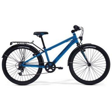 Детский велосипед Merida Fox J24 2017Детские<br>Велосипед, предназначенный для детей в возрасте от восьми до тринадцати лет, с оборудованием начального класса Shimano, 6 скоростей. Технические особенности: алюминиевая рама M24 Alloy, жесткая стальная вилка, двойные алюминиевые обода, надежные ободные тормоза V-Brake Linear, длинные стальные крылья, багажник, подножка. Подходит для прогулочного катания в городских условиях и по несложным маршрутам в лесу. Диаметр колес - 24 дюйма.<br>Рама и амортизаторы<br><br>РамаM24 ALLOY<br>ВилкаRigid Steel<br>Цепная передача<br><br>МанеткиShimano Revoshift SL-RS35 6sp<br>Задний переключательShimano TY21<br>Шатуны38T 140L<br>Кареткаattached<br>КассетаShimano TZ-20 14-28T 6sp<br>ЦепьZ33<br>ПедалиFP-628<br>Колеса<br><br>Диаметр24.0<br>ОбодаAlloy Black<br>СпицыSteel UCP<br>ВтулкаSteel NT<br>ПокрышкаMerida 24 2.0<br>Компоненты<br><br>Передний тормозV-Brake Linear<br>Задний тормозV-Brake Linear<br>РульMerida Rise 540<br>ВыносMerida A-Head<br>Рулевая колонкаSteel-Headset<br>СедлоFOX 24<br>Подседельный штырьSteel 27.2<br>РазработкаТайвань<br>ПроизводствоКНР (Тайвань)<br>