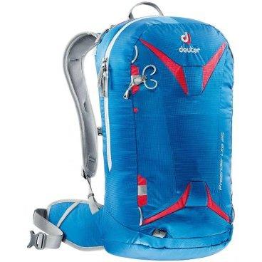 Рюкзак Deuter Freerider Lite 25, отделение для влажной одежды, 56х28х20, 25 л, голубой, 3303017_3516Велорюкзаки<br>Новинка от Deuter. Облегченная модель зимних рюкзаков для бэккантри и фрирайда серии Freerider.<br><br>-сноуборд и снегоступы могут быть прикреплены в вертикальном положении<br>-стропы крепления позволяют переносить снегоступы в центре, сбоку и по диагонали<br>-две петли ледоруба, которые могут убираться<br>-большое отделение для лавинной лопаты и лейбл SOS.<br>-отделение для зонда<br>-боковые компрессионные ремни<br>-стабилизирующие ремни<br>-совместим с питьевой системой<br>-съемная фиксация шлема<br>-внешнее отделение на молнии для маски или очков с флисовой обивкой изнутри<br>-отделение для влажной одежды<br>-петли для снаряжения и карман на молнии на поясе, система Vari Flex , съемный пояс<br>-3M отражатель<br>-съемная сидушка<br>-Материал: 100D Pocket Rip Mini<br><br>Система спины:<br><br>- Плотно прилегающая спинка с дышащей подкладкой 3D AirMesh<br>- Съемный поясной ремень (Speed lite 10, Speed lite 15, Speed lite 20)<br>- Упругий каркас из пластика Delrin® U-образной формы обеспечивает непревзойденную гибкость при очень малом весе. Для уменьшения веса и сворачивания рюкзака его можно снять. (Speed lite 10, Speed lite 15, Speed lite 20, Pace 28 SL, Pace 30)<br>- Нагрудный ремень.<br><br>Материалы:<br><br>100D Pocket Rip Mini<br>более легкий вариант ткани Nylon Pocket Rip. Тонкая пряжа чрезвычайно легкая. Тем не менее, плотное переплетение делает ее чрезвычайно стойкой к истиранию и прочной на разрыв.<br><br>-Вес: 940 грамм.<br>-Объём 25 литров.<br>-Размеры: 56x28x20 см.<br>