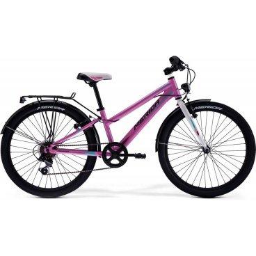Детский велосипед Merida Princess J24 2017Детские<br>Велосипед, предназначенный для девочек в возрасте от восьми до тринадцати лет, с оборудованием начального класса Shimano, 6 скоростей. Технические особенности: алюминиевая рама M24 Alloy, жесткая стальная вилка, двойные алюминиевые обода, надежные ободные тормоза V-Brake Linear, длинные стальные крылья, багажник, подножка. Подходит для прогулочного катания в городских условиях и по несложным маршрутам в лесу. Диаметр колес - 24 дюйма.<br><br>Общие характеристики<br>Вынос Merida A-Head<br>Тип манеток Вращающаяся ручка<br>Манетки Shimano Revoshift SL-RS35 6sp<br>Задний переключатель Shimano TY21<br>Передняя втулка Steel NT<br>Задняя втулка Steel NT<br>Каретка attached<br>Система 38T 140L<br>Кассета Shimano TZ-20 14-28T 6sp<br>Цепь KMC Z33<br>Количество скоростей 6 (1*6)<br>Педали Junior fit<br>Обода Алюминий<br>Спицы Steel UCP<br>Передняя покрышка Merida 24 2.0<br>Задняя покрышка Merida 24 2.0<br>Подседельный штырь Alloy 27.2<br>Седло PRINCESS 24<br>Комплектация Крылья, подножка, багажник<br>Год 2017<br>Бренд MERIDA<br>Диаметр колес 24<br>Пол Женские<br>Возраст Подростковые<br>Категория Горные<br>Рама, вилка<br>Материал рамы Алюминиевый сплав<br>Размеры рам 11.5<br>Рама M24 ALLOY<br>Вилка Жесткая<br>Рулевая колонка Steel-Headset<br>Торможение<br>Тормозные ручки Alloy Junior<br>Передний тормоз V-Brake Linear<br>Тип тормозов Ободные механические<br>Задний тормоз V-Brake Linear<br>Руль<br>Руль Merida Rise 540<br>