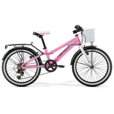 Детский велосипед Merida Princess J20 2017Детские<br>Велосипед, предназначенный для девочек в возрасте от пяти до девяти лет, с оборудованием начального класса Shimano, 6 скоростей. Технические особенности: алюминиевая рама M20 Alloy, жесткая стальная вилка, одинарные алюминиевые обода, надежные ободные тормоза V-Brake Linear, длинные стальные крылья, багажник, передняя корзина, звонок. Подходит для обучения и прогулочного катания в городских условиях. Диаметр колес - 20 дюймов. Вес - 12 кг.<br><br>Рама и амортизаторы<br><br>РамаM20 ALLOY<br>ВилкаRigid Steel<br>Цепная передача<br><br>МанеткиShimano Revoshift SL-RS35 6<br>Задний переключательShimano TY21<br>Шатуны38T 140L<br>Кареткаattached<br>Кассета14-28T 6sp<br>ЦепьZ33<br>ПедалиJunior PVC<br>Колеса<br><br>Диаметр20.0<br>ОбодаAlloy Black<br>СпицыSteel BK<br>ВтулкаSteel NT<br>ПокрышкаMerida 20 1.95<br>Компоненты<br><br>Передний тормозV-Brake Linear<br>Задний тормозV-Brake Linear<br>РульMerida Rise 540<br>ВыносMerida A-Head<br>Рулевая колонкаSteel-Headset<br>СедлоPRINCESS 20<br>Подседельный штырьSTEEL 27.2<br>РазработкаТайвань<br>ПроизводствоКНР (Тайвань)<br>