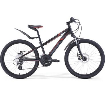 Детский велосипед Merida Matts J24 Marathon SL 2017Детские<br>Велосипед, предназначенный для детей в возрасте от восьми до тринадцати лет, с оборудованием любительского класса Shimano, 24 скорости. Технические особенности: алюминиевая рама M24 Alloy, амортизационная вилка SR Suntour XCT JR, двойные обода Merida double V, дисковые механические тормоза JAK-7 MD. Подходит для прогулочного катания по различным дорогам и пересеченной местности. Диаметр колес - 24 дюйма. Вес - 14 кг.<br><br>Рама и амортизаторы<br><br>РамаM24 ALLOY<br>ВилкаSR Suntour XCT JR 24 50<br>Цепная передача<br><br>МанеткиShimano Tourney Revoshift SL-RS45 3 / Shimano Tourney Revoshift SL-RS45 8<br>Задний переключательShimano Altus RD-M310<br>ШатуныSR Suntour XCC-T102 42-34-24T 160L<br>КассетаSunRace CSM66 11-32T 8sp<br>ЦепьKMC Z51<br>ПедалиVP-225 Plastic<br>Колеса<br><br>Диаметр24.0<br>ОбодаMerida double V<br>СпицыSteel UCP<br>ВтулкаAlloy QR<br>ПокрышкаMerida 24 1.95<br>Компоненты<br><br>Передний тормозJAK-7 MD 160<br>Задний тормозJAK-7 MD 160<br>РульMerida Alloy Rise 560<br>ВыносMerida A-Head OS 60<br>Рулевая колонкаA-Head<br>СедлоMatts kid 24<br>Подседельный штырьAlloy 27.2<br>РазработкаТайвань<br>ПроизводствоКНР (Тайвань)<br>