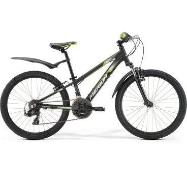 Детский велосипед Merida Matts J24 Marathon 2017Детские<br>Велосипед, предназначенный для детей в возрасте от восьми до тринадцати лет, с оборудованием начального класса Shimano, 21 скорость. Технические особенности: алюминиевая рама M24 Alloy, амортизационная вилка SR Suntour M3010-P, двойные обода Merida double V, надежные ободные тормоза V-Brake Linear. Подходит для прогулочного катания по различным дорогам и пересеченной местности. Диаметр колес - 24 дюйма. Вес - 13,5 кг.<br><br>Рама и амортизаторы<br><br>РамаM24 ALLOY<br>ВилкаSR Suntour M3010-P 40<br>Цепная передача<br><br>МанеткиShimano Revoshift SL-RS35 3 / Shimano Revoshift SL-RS35 7<br>Задний переключательShimano Tourney RD-TY500-SGS<br>ШатуныProwheel 42-34-24T 160L<br>КассетаShimano TZ-21 14-28T 7sp<br>ЦепьKMC Z50<br>ПедалиVP-225 Plastic<br>Колеса<br><br>Диаметр24.0<br>ОбодаMerida double V<br>СпицыSteel UCP<br>ВтулкаAlloy QR<br>ПокрышкаMerida 24 1.95<br>Компоненты<br><br>Передний тормозV-Brake Linear<br>Задний тормозV-Brake Linear<br>РульMerida Alloy Rise 560<br>ВыносMerida A-Head OS 60<br>Рулевая колонкаA-Head<br>СедлоMatts kid 24<br>Подседельный штырьAlloy 27.2<br>РазработкаТайвань<br>ПроизводствоКНР (Тайвань)<br>