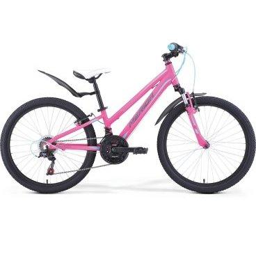 Детский велосипед Merida Matts J24 Girl 2017Детские<br>Велосипед, предназначенный для девочек в возрасте от восьми до тринадцати лет, с оборудованием начального класса Shimano, 18 скоростей. Технические особенности: алюминиевая рама M24 Alloy, амортизационная вилка Merida HL 410E, двойные обода Alloy Black, надежные ободные тормоза V-Brake Linear. Подходит для прогулочного катания по различным дорогам и пересеченной местности. Диаметр колес - 24 дюйма. Вес - 13,9 кг.<br><br>Рама и амортизаторы<br><br>РамаM24 ALLOY<br>ВилкаMerida HL 410E 40<br>Цепная передача<br><br>МанеткиShimano Revoshift SL-RS35 3/6<br>Задний переключательShimano Tourney TZ50<br>ШатуныProwheel 42-34-24T 160L<br>КассетаShimano TZ-20 14-28T 6sp<br>ЦепьKMC Z50<br>ПедалиWellgo LU-984 Plastic<br>Колеса<br><br>Диаметр24.0<br>ОбодаAlloy Black<br>СпицыSteel UCP<br>ВтулкаAlloy QR<br>ПокрышкаMerida 24 1.95<br>Компоненты<br><br>Передний тормозV-Brake Linear<br>Задний тормозV-Brake Linear<br>РульMerida Rise 550<br>ВыносMerida A-Head OS 60<br>Рулевая колонкаA-Head<br>СедлоMatts kid 24<br>Подседельный штырьAlloy 27.2<br>РазработкаТайвань<br>ПроизводствоКНР (Тайвань)<br>