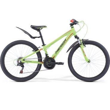 Детский велосипед Merida Matts J24 Boy 2017Детские<br>Модельный год: 2017; Применение: горный (MTB); горный (кросс-кантри); Возрастная группа: подростковый; Тип: мужской; Размер рамы: 11.5; Материал рамы: алюминий; Амортизация: передняя вилка; Тип амортизации (вилка): пружинно-эластомерная; Диаметр колес (): 24; Передний тормоз: ободной механический (V-brake)<br><br>Рама и амортизаторы<br><br>РамаM24 ALLOY<br>ВилкаMerida HL 410E 40<br>Цепная передача<br><br>МанеткиShimano Revoshift SL-RS35 3/6<br>Задний переключательShimano Tourney TZ50<br>ШатуныProwheel 42-34-24T 160L<br>КассетаShimano TZ-20 14-28T 6sp<br>ЦепьKMC Z50<br>ПедалиWellgo LU-984 Plastic<br>Колеса<br><br>Диаметр24.0<br>ОбодаAlloy Black<br>СпицыSteel UCP<br>ВтулкаAlloy QR<br>ПокрышкаMerida 24 1.95<br>Компоненты<br><br>Передний тормозV-Brake Linear<br>Задний тормозV-Brake Linear<br>РульMerida Rise 550<br>ВыносMerida A-Head OS 60<br>Рулевая колонкаA-Head<br>СедлоMatts kid 24<br>Подседельный штырьAlloy 27.2<br>РазработкаТайвань<br>ПроизводствоКНР (Тайвань)<br>