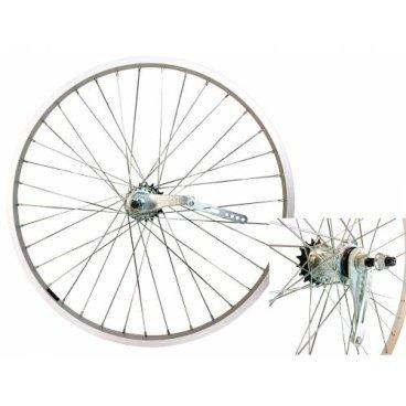 Колесо VELOOLIMP 20, заднее, алюминиевый одинарный обод, тормозная втулка, сероеКолеса для велосипеда<br>Велосипедное колесо VELOOLIMP 20<br>Заднее<br>Серебристый алюминиевый одинарный обод<br>Тормозная втулка<br>Серое<br>