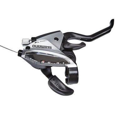 Шифтер Shimano Tourney EF510, передний/левый, для 3 скоростей, серебристый, ASTEF5102LSBSМанетки и Шифтеры<br>Левая ручка переключения передач Shimano EF510 совмещенная с тормозной ручкой, начального уровня, предназначена для установки на горные или дорожные велосипеды которые имеют спереди 3 звезды. Имеет современный дизайн, удобный тормозной курок. <br><br>Особенности: четкий и легко читаемый индикатор скоростей, надежный внутренний механизм который отлично работает при должном использовании. Подходит для работы с дисковым механическим тормозом, а также с v-brake.<br>