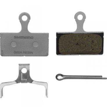 Тормозные колодки SHIMANO G02A, для дискового тормоза, пластик, пружина, шплинт, Y8LW98020Тормоза на велосипед<br>Тормозные колодки Shimano G02A, композитный состав, с пружинкой и шплинтом. Подходят для дисковых тормозов Shimano BR-M9000, BR-M9020, BR-M987, BR-M985, BR-M785, BR-M675, BR-M666, BR-M615, BR-S700, BR-CX75, BR-RS785, BR-R785, BR-R515, BR-R315.<br>