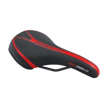 Седло для велосипеда KELLYS CROSSLINE, MTB, 262х175 мм, технология zone cut, чёрно-красноеСедла для велосипедов<br>Седло Kellys CROSSLINE имеет специальную форму больше подходящую для мужчин. Используется безшовная технология, не натирает между ног. Изготовлено из высокоплотной пены для большего комфорта. Гибкое соединение рельс и платформы для лучшего поглащения вибрации. Шкала для точной регулировки и настройки.<br>