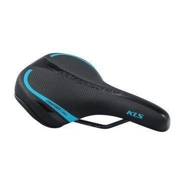 Седло для велосипеда KELLYS COMFORTLINE, женское, 277х162 мм, чёрное с синей полоскойСедла для велосипедов<br>Женское велосипедное седло.<br>Пенный наполнитель повышенной плотности, изгиб по центральной линии для уменьшения давления, седло усиленно пластиковой вставкой, шкала для удобного регулирования и установки.<br>