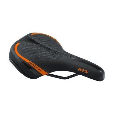 Седло для велосипеда KELLYS COMFORTLINE, женское, 277х162 мм, чёрное с оранжевой полоскойСедла для велосипедов<br>Женское велосипедное седло.<br>Пенный наполнитель повышенной плотности, изгиб по центральной линии для уменьшения давления, седло усиленно пластиковой вставкой, шкала для удобного регулирования и установки.<br>