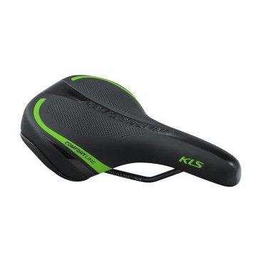 Седло для велосипеда KELLYS COMFORTLINE, женское, 277х162 мм, чёрное с зеленой полоскойСедла для велосипедов<br>Женское велосипедное седло.<br>Пенный наполнитель повышенной плотности, изгиб по центральной линии для уменьшения давления, седло усиленно пластиковой вставкой, шкала для удобного регулирования и установки.<br>