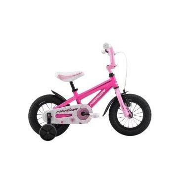 Детский велосипед Merida Bella J12Детские<br>Велосипед, предназначенный для девочек в возрасте от полутора до трех лет, без переключения передач. Технические особенности: алюминиевая рама Girl Alloy, жесткая вилка Rigid fork Steel, одинарные обода Alloy Black, передний тормоз - ручной, задний - ножной, короткие крылья, защита цепи, боковые колеса. Подходит для обучения и легких прогулок. Диаметр колес - 12 дюймов. Вес - 7,8 кг.<br><br><br>Основные характеристики<br><br>Производитель Merida<br>Модельный год 2016<br>Материал рамы Алюминий<br>Диаметр колес 12 дюймов<br>Количество скоростей 1 скорость<br>Возраст От 1 до 3 лет<br>Тип тормозов Ободные<br>Страна Германия<br>Количество колес 4 колеса<br>Наличие ручки без ручки<br>Рама и амортизаторы<br><br>Вилка Жесткая<br>Рама MATTS J12<br>Привод<br><br>защита звёзд/цепи FULL-TYPE<br>Каретка attached<br>Кассета 16T<br>Педали Kid PP<br>Система STEEL 28T<br>Цепь C-410<br>Колеса<br><br>Втулки Steel NT<br>Обода Alloy Black<br>Покрышки Kid 12 X 1.75 ( WHITE LINE )<br>Спицы Steel BK<br>Компоненты<br><br>Вынос руля one piece<br>Звонок YWS-Alloy<br>Подножка Боковые колеса<br>Подседельный штырь attached<br>Рулевая колонка General<br>Руль one piece<br>Седло BELLA kid 12<br>Тормоза Side Pull ( STEEL ) / Ножной (Coaster in R.Hub.)<br>Тормозные ручки Kid Lever ( BL-01PA )<br>