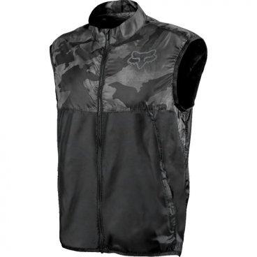 Велокуртка Fox Dawn Patrol Vest, чернаяВелокуртка<br>Одежда Fox Tech – очередной результат постоянного стремления Fox к инновациям. Жилет Dawn Patrol сочетает в себе современные технологии и отличную функциональность. Он стильно выглядит, не сковывает движений, хорошо защищает от ветра и не слишком сильного дождя - словом, это оптимальный выбор для занятий спортом в межсезонье.<br><br>ОСОБЕННОСТИ:<br><br>Материал: 100% нейлон<br><br>Верхний слой хорошо защищает от ветра<br><br>Водоотталкивающее покрытие позволит остаться сухим в не слишком сильный дождь<br><br>Вентилируемая задняя часть для лучшей циркуляции воздуха<br><br>Светоотражающие элементы сделают вас заметнее в тёмное время суток<br><br>Удобное отверстие для провода от наушников<br><br>Цвет: тёмно-серый камуфляж<br>
