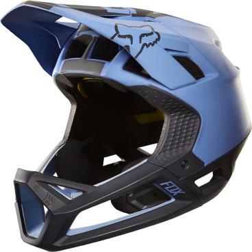 Велошлем Fox Proframe Libra Helmet, сине-черныйВелошлемы<br>Proframe – самый лёгкий и вентилируемый шлем типа «фулл-фейс» от Fox,созданный для гонщиков эндуро и любителей агрессивного трейлрайдинга. Он вентилируется почти так же, как открытые шлемы, но при этом подходит даже для даунхила, что подтверждает соответствующий сертификат. Это действительно универсальный шлем, в котором вы сможете уверенно ездить где угодно. Proframe обеспечивает райдеру защитные свойства полноценного даунхильного шлема при сверхмалом весе – это стало возможно благодаря использованию патентованной интегрированной защиты челюсти. Благодаря 24 широким отверстиям для вентиляции этот шлем проветривается почти так же, как модели открытого типа – в нём вы не перегреетесь даже на самых трудных и затяжных подъёмах. А на спуске он придаст вам дополнительную уверенность, чтобы смело проезжать самые жёсткие и техничные участки.<br><br>ОСОБЕННОСТИ<br><br>Самый лёгкий фулл-фейс от Fox: Proframe весит всего 750 граммов (в размере M)<br>Отвечает требованиям таких стандартов безопасноти, как ASTM F1952, EN 1078, AS/NZ 2063 и CPSC<br>Интегрированная защита челюсти соединяется с корпусом шлема при помощи особой патентованной системы<br>Мягкий внутренник шлема хорошо дышит, эффективно отводит влагу от головы и обладает антимикробными свойствами<br>Благодаря 24 широким отверстиям для вентиляции Proframe – один из самых лёгких и вентилируемых шлемов, пригодных для даунхила<br>Фиксированный козырёк расположен таким образом, чтобы обеспечить максимальный приток воздуха к отверстиям для вентиляции<br>Застёжка Fidlock очень надёжна, при этом она моментально открывается и закрывается<br>Проверенная временем система MIPS (Multi-directional Impact Protection System)обеспечивает эффективную защиту при косых ударах и резких вращениях головы<br>Пеноматериал Varizorb дополнительно улучшает защитные свойства шлема<br>