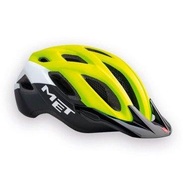 Велошлем MET Crossover Safety, желто-бело-черныйВелошлемы<br>Лёгкий универсальный шлем, который отлично подойдёт для использования в условиях города – этому способствует его низкий вес, оптимальная вентилируемость и встроенный светодиодный фонарь. Шлем можно использовать как с козырьком, так и без него.<br><br><br><br>ОСОБЕННОСТИ<br><br><br><br>Универсальная модель, оптимальная для использования в условиях города<br><br>Встроенный светодиодный фонарь<br><br>Сменные внутренние накладки из гипоаллергенного материала<br><br>Вес: 290-350 граммов (в зависимости от размера)<br>