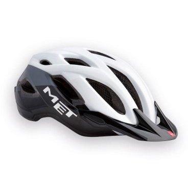 Велошлем MET Crossover, бело-черныйВелошлемы<br>Лёгкий универсальный шлем, который отлично подойдёт для использования в условиях города – этому способствует его низкий вес, оптимальная вентилируемость и встроенный светодиодный фонарь. Шлем можно использовать как с козырьком, так и без него.<br><br><br><br>ОСОБЕННОСТИ<br><br><br><br>Универсальная модель, оптимальная для использования в условиях города<br><br>Встроенный светодиодный фонарь<br><br>Сменные внутренние накладки из гипоаллергенного материала<br><br>Вес: 290-350 граммов (в зависимости от размера)<br>