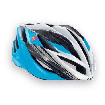Велошлем MET Forte, сине-черно-белыйВелошлемы<br>Классический шоссейный шлем, сочетающий в себе лёгкость, компактность и обтекаемую форму. Впаянный в жёсткий корпус пенопластовый внутренник обеспечивает высокую надёжность шлема и лучшую абсорбацию ударов.Фирменная система застёжек под названием Strong Fit легко регулируется и надёжно фиксирует шлем на голове.<br><br><br><br>ОСОБЕННОСТИ<br><br><br><br>Классический шоссейный шлем – лёгкий, надёжный и хорошо вентилируемый<br><br>Монолитная конструкция – пенопластовый внутренник впаян в жёсткий корпус шлема<br><br>Сменные внутренние накладки из гипоаллергенного материала<br><br>Фирменная система застёжек под названием Strong Fit<br><br>Вес: 245-300 граммов (в зависимости от размера)<br>
