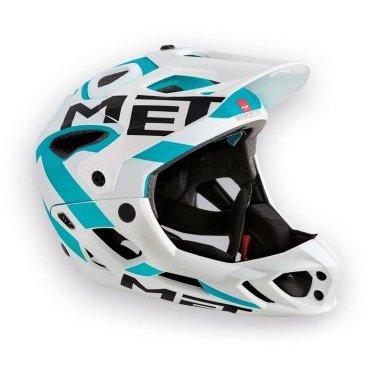 Велошлем MET Parachute, бело-голубойВелошлемы<br>Met Parachute - самый лёгкий фулл-фейс в мире, предназначенный для эндуро. Он обеспечивает более чем оптимальную вентиляцию головы и, разумеется, защиту, достаточную даже для даунхила. Пенопластовый внутренник шлема впаян в жёсткий корпус – таким образом, шлем представляет собой монолитную конструкцию, и энергия удара эффективнее распределяется между двумя оболочками. Шлем соответствует требованиям стандарта безопасности American ASTM F 1952 – собственно, это единственный существующий стандарт для велосипедных шлемов типа фулл-фейс. Кроме того, данная модель не ограничивает слышимость – вы будете отчётливо слышать окружающие вас звуки.<br><br><br><br>ОСОБЕННОСТИ<br><br><br><br>Самый лёгкий фулл-фейс в мире<br><br>Монолитная конструкция – пенопластовый внутренник впаян в жёсткий корпус шлема<br><br>Не ограничивает слышимость<br><br>Несъёмная защита челюсти<br><br>Специальные пазы для резинки маски<br><br>Сменные внутренние накладки из гипоаллергенного материала<br><br>Отверстия в козырьке для дополнительной вентиляции<br><br>Съёмный крепёж для камеры типа GoPro<br><br>Вес: 700-740 граммов (в зависимости от размера)<br>