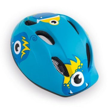 Велошлем детский MET Buddy Monsters, синийВелошлемы<br>Традиционный детский шлем от Met – стильный, удобный и хорошо вентилируемый. Классическая обтекаемая форма, интегрированный козырёк, вставки из москитной сетки в вентиляционных отверстиях и внутренник из гипоаллергенного материала – обучение езде на двух колёсах теперь станет ещё веселее и безопаснее. <br><br><br><br>ОСОБЕННОСТИ<br><br><br><br>Оригинальный дизайн<br><br>Интегрированный козырёк<br><br>Удобная система регулировки размера<br><br>Гипоаллергенный внутренник<br><br>Вставки из москитной сетки в отверстиях для вентиляции<br><br>Размер: регулируемый (46-53см)<br><br>Вес: 210 граммов<br>