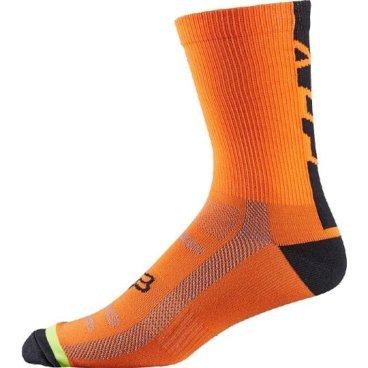 """Носки Fox DH 6-inch Socks, оранжевыйВелоноски<br>Высокие носки от Fox, выполненные из быстросохнущего синтетического материала, который хорошо отводит влагу от кожи. Вставки из эластичной сетчатой ткани и сглаженные швы обеспечивают дополнительный комфорт. Эти носки – одни из самых удобных, и они отлично подойдут как для катания на велосипеде, так и для любой другой активности.<br><br><br><br>ОСОБЕННОСТИ<br><br><br><br>Высокие (6"""") носки от Fox<br><br>Материал: полипропилен<br><br>Вставки из эластичной сетчатой ткани в критических местах<br><br>Сглаженные швы<br>"""